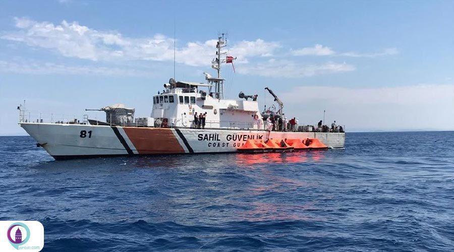 ۷۲ پناهجو توسط گارد ساحلی ترکیه از مرگ نجات یافتند