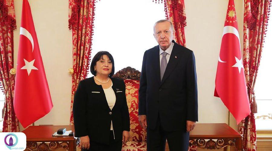 دیدار رئیس مجلس جمهوری آذربایجان با اردوغان