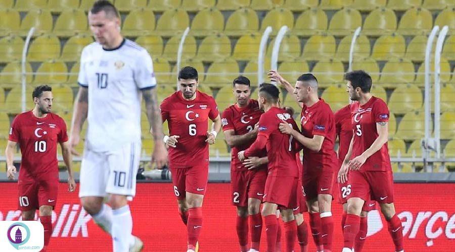 پیروزی تیم ملی فوتبال ترکیه مقابل روسیه