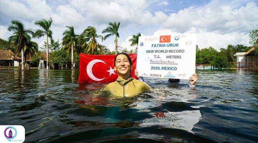 شناگر زن ترک 3 رکورد جهانی غواصی آزاد را شکست