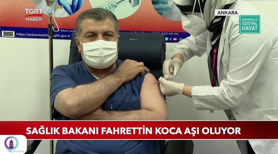 وزیر بهداشت ترکیه، فاحرتین کجا با پخش زنده از تلویزیون واکسن چینی کرونا را دریافت کرد