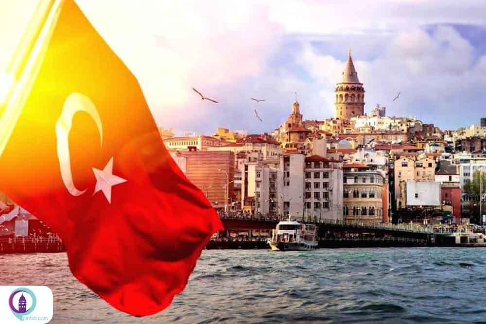 پرچم ترکیه دریا برج گالاتا